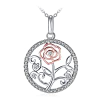 GUNDULA Flower Pendant Necklace Christmas Jewellery, Hypoallergenic Necklace with 925 Sterling Silver 3A Cubic Zirconia Ideal Gift ¡°Flower of Life¡±, 18+2 Extender