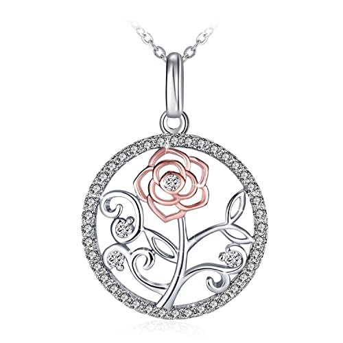 GUNDULA Jewelry Gifts Packing Womens Jewelry Sterling Silver Hollow Rose Flower Gold Plated Round Halo Pendant Necklace