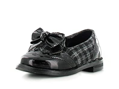 66c496b5dd7 Kids Grey Checkered Black Patent Panel Loafers Gold Tassels Unique Cut  Design Ideal for Smart