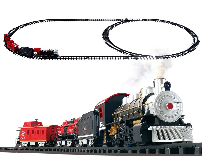 POCO DIVO Steam Locomotive Smoke Classic Train Set 20pcs Railway Track Playset with Headlight and Sound