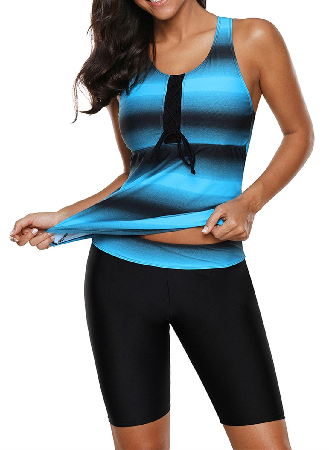 Aleumdr Womens Racerback Color Block Tankini Top with Swimsuit Bottom Swimsuit Swimwear Blue S 4 6