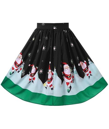 a9c468702b4 TheFound Womens Christmas Plus Size Midi Swing Skirt Xmas Dress at ...