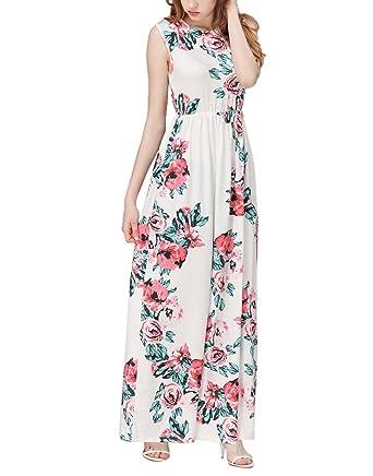 c3346783007d77 Aitos Robe Longue Été Tunique Femme Maxi Robe Elegante Imprimé Florale Mode  de Soirée Casual Vintage