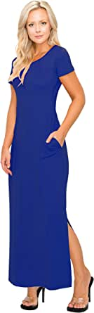 ALWAYS Women Maxi Dress - Shrink Free Premium Soft Loose Casual Short Sleeve Empire Dresses with Pockets and Slits