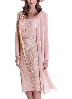 fa3d540caa5f52 ShineGown Hochzeit Mutter der Braut Kleid Pencil Pink mit langen Chiffon  Jacket Square Neck