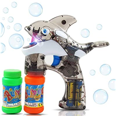 Haktoys Cartoon Fish Bubble Shooter Gun, Ready to Play Light Up Blower w/ LED Flashing Lights, Extra Refill Bottle, Whale Bubble Blaster Toy for Toddlers, Kids, Parties, Sound-Free, Batteries Included: Toys & Games