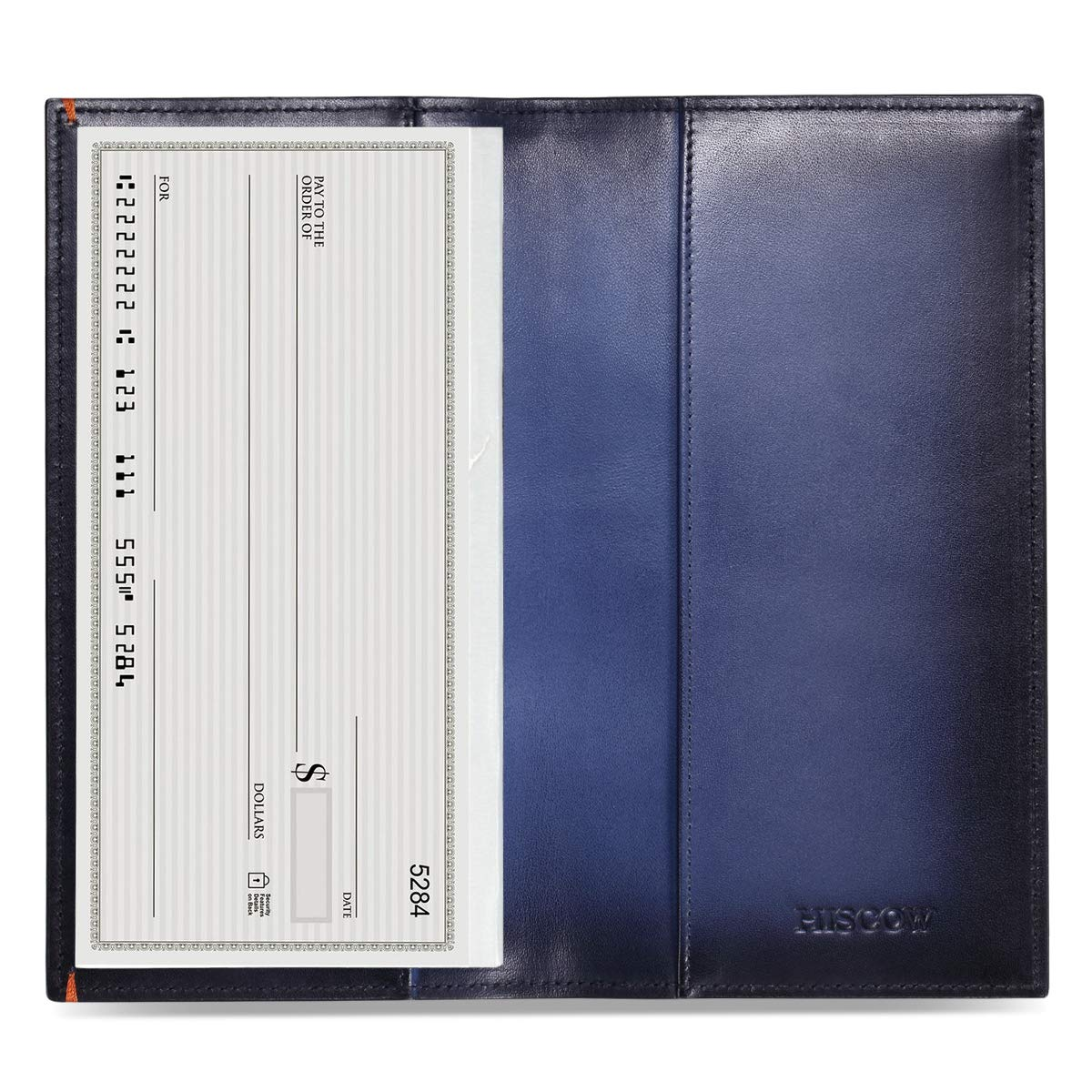 HISCOW Minimalist Checkbook Cover - Full Grain Leather (Brush-Off Blue)