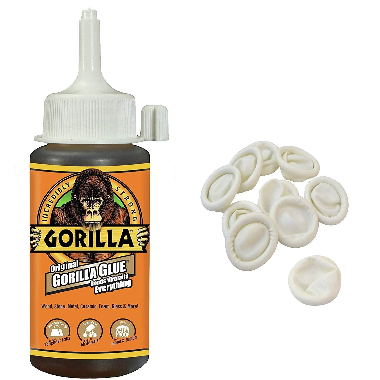 Gorilla Original Gorilla Glue, 4 oz., Brown With 10 Disposable Latex Finger Cots Rubber Fingertips by Gorilla