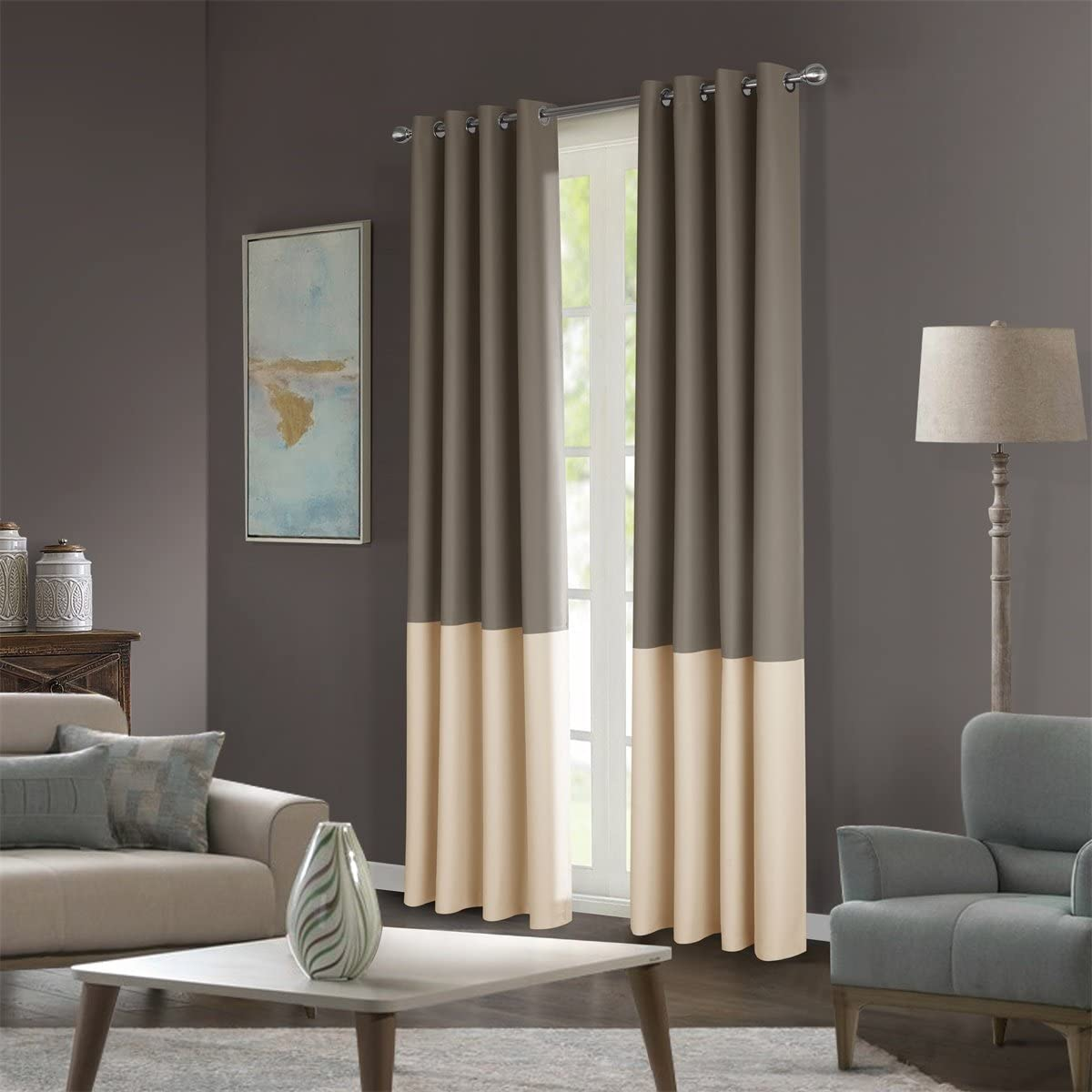 Dreaming Casa Stitching Style Two Tone Curtains Light Blocking Drapes Color Block Curtains 100 Wide Blackout Wide Panel Curtains Window Treatment Grommet Top 2 Panels Taupe Beige 100 W x 63 L