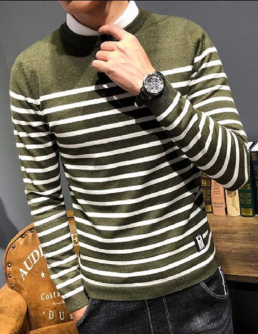 Yayu Mens Casual Sweater Color Block Stripe Crewneck Knitted Sweater