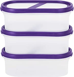SIMPARTE Pantry Airtight Food Storage Containers|2.2 Cup|3 Container Set|Microwave & Dishwasher Safe|BPA Free|Cereal and Dry Food Storage Containers|Freezer Safe|Space Saver Modular Design Purple Lids