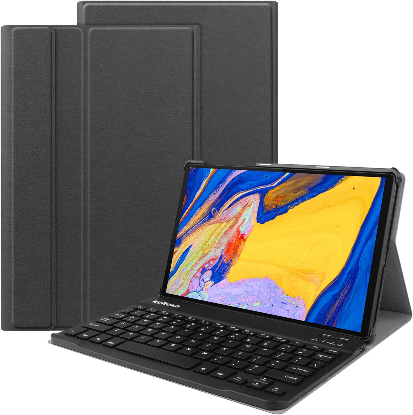 KuRoKo Lenovo m10 Plus Keyboard Case -Backshell Folio Stand Cover with Removable Wireless Keyboard Compatiable with Tab M10 FHD Plus TB-X606F / TB-X606X 10.3 (Black)