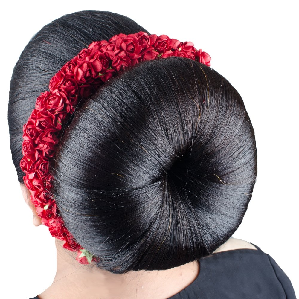 Buy Kabello Artificial Flower Hair Gajra For Hair Bridal Girls Hair Accessories Pack Of 1 Red Online At Low Prices In India Amazon In