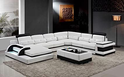 Amazon.com: My Aashis Large Corner Leather Sofa for Modern sectional ...