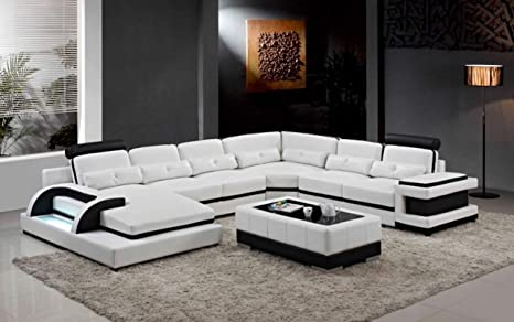 Amazon.com: My Aashis Large Corner Leather Sofa for Modern ...