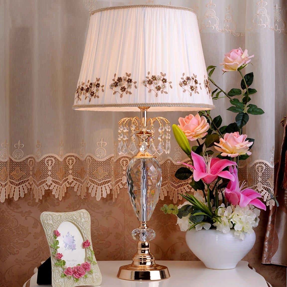 LRW クリスタルデスクランプベッドサイドベッドルームリビングルームヴィラヨーロッパテーブルランプ (Size : L42*75cm) L42*75cm  B07D3LH3KL