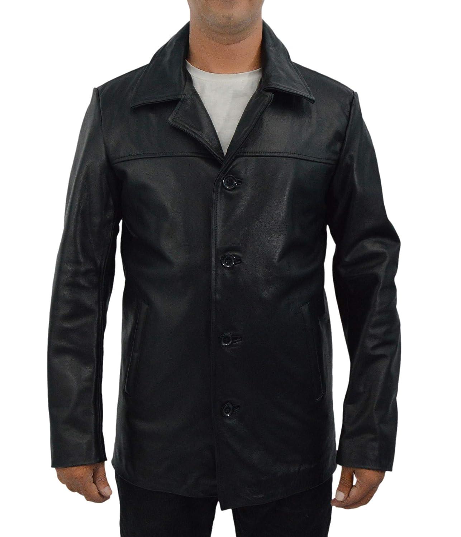 F&H Men's Genuine Leather Denzel Washington Detective Alonzo Harris Training Day Car Coat B07H8PQP14 2XL|ブラック ブラック 2XL