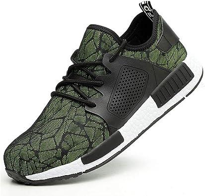 SROTER Zapatillas de Seguridad para Hombre Mujer Calzado de Trabajo Industrialy Deportiva con Puntera de Acero Ligeras Respirable Comodas Correr Sneakers