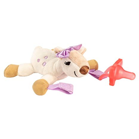 Dr. Browns Baby Lovey Pacifier and Teether Holder, Soft Plush Stuffed Animal Deer Pacifier Tether with Pink Pacifier, 100% Silicone Pacifier, 0+ ...