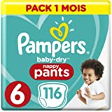 Pampers Baby-Dry pantalones, tamaño 6, 116 unidades per paquete