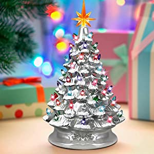 """Moccha 15"""" Christmas Tree Ceramic Tabletop Pre-Lit Holiday Decor with A Top Plastic Star, 66 Battery-Operated Multicolored Lights, Ideal for Home and Office Decoration, Festival Celebration (White)"""