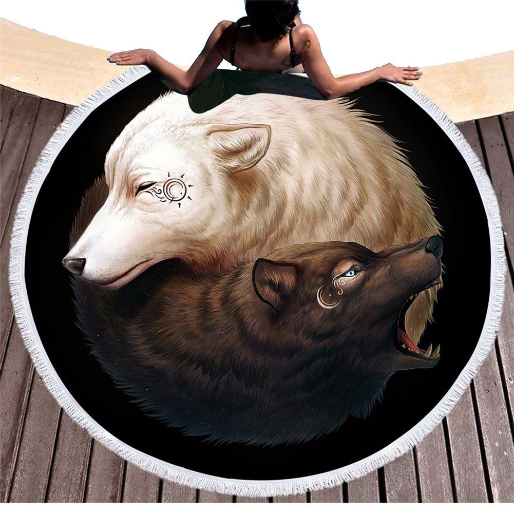 /Étnico Yinyang Lobos redondas Toallas de playa con borlas India Mandala Blanco y Negro Wolf Print playa roundie boho playa Techos Mantel Picnic Alfombra/ 59*59in Pattern1 /Esterilla de yoga