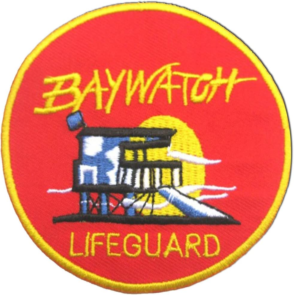 Baywatch Swimsuit Lifeguard Logo Embroidered Iron-On or Sew-On Patch 100mm XL