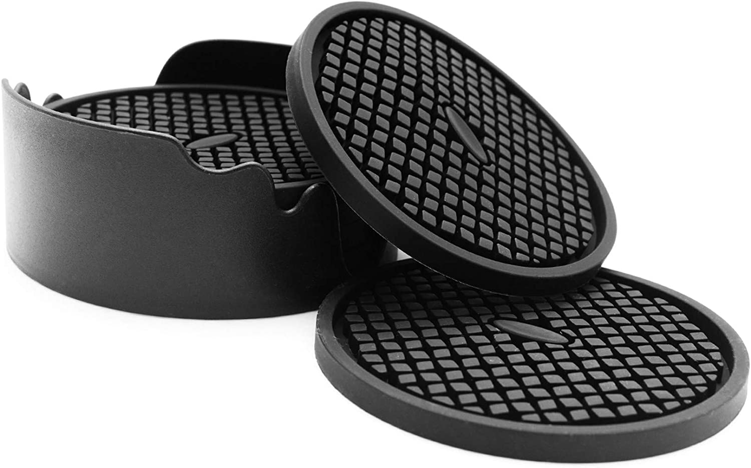 IYYI Silicone Drink Coasters Set of 6 in Holder, Cup Coaster for Drinks Deep Grooved Absorbent Coaster Protect Furniture from Damage Large 4 inch Cup Mat (Black)