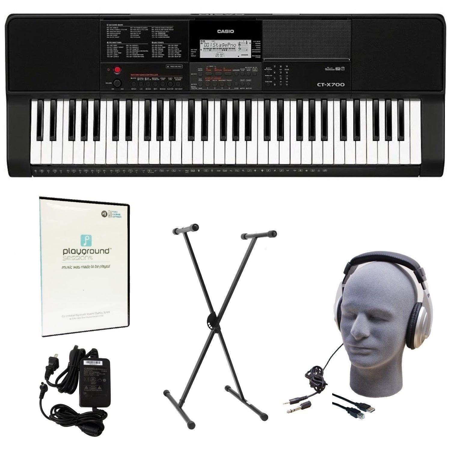 Casio CT-X700 EDP Educational Keyboard Pack with Power Supply, Stand, Headphones, USB Cable, and Instructional Software CAS CTX700 EDP
