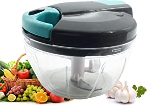 Multi-Function Manual Food Processors & Chopper with Cover and Handle, Garlic Press Vegetable Chopper Shredder,Suitable for Onions Garlic Carrots Gingers Peppers Fruits,Ideal Gift for Kitchen(Blue)