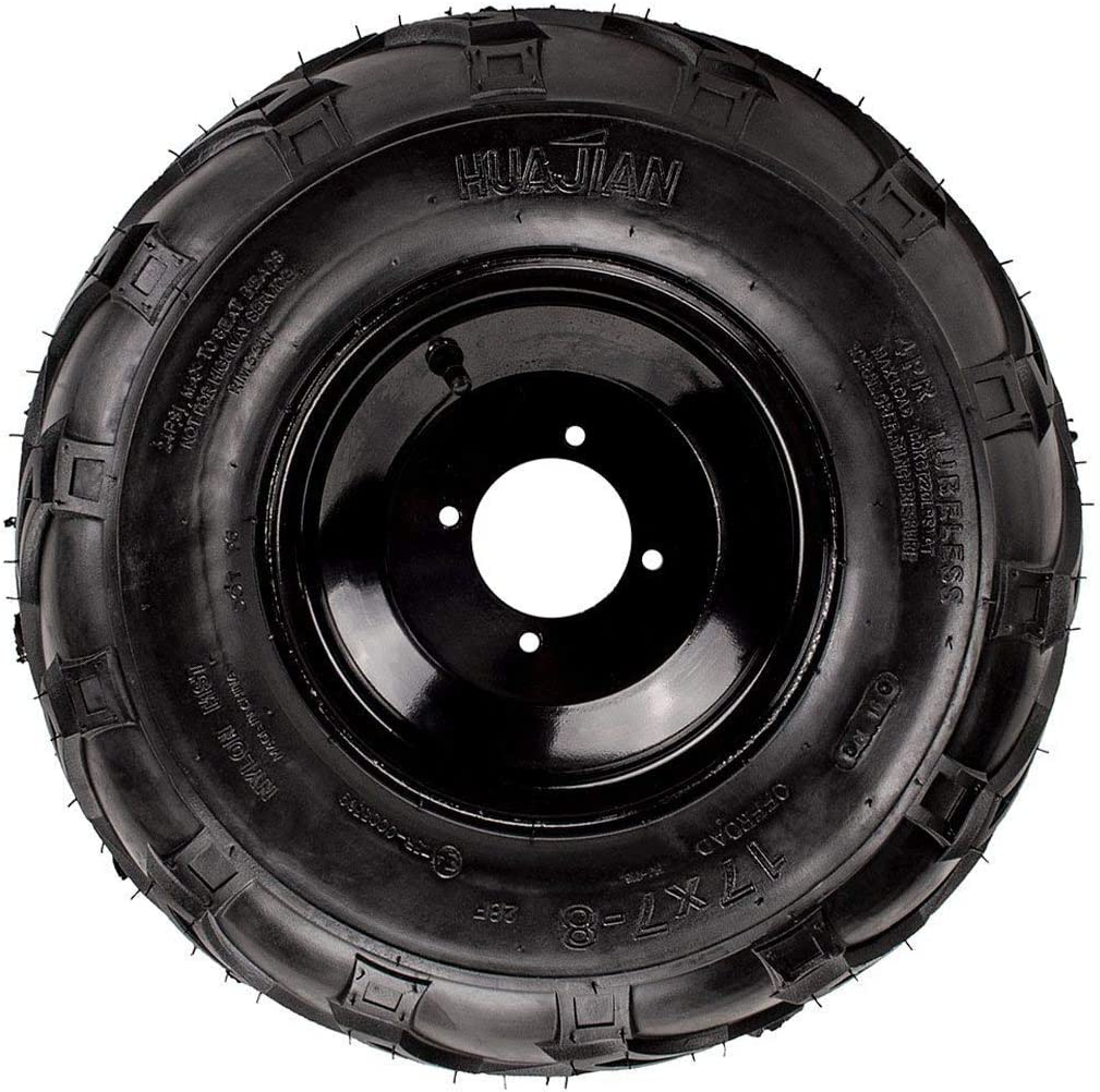 8mm TATV Quad Go-Kart by VMC CHINESE PARTSao Tao Left 4 Bolt 17x7-8 Chinese Tire Rim Wheel Assembly