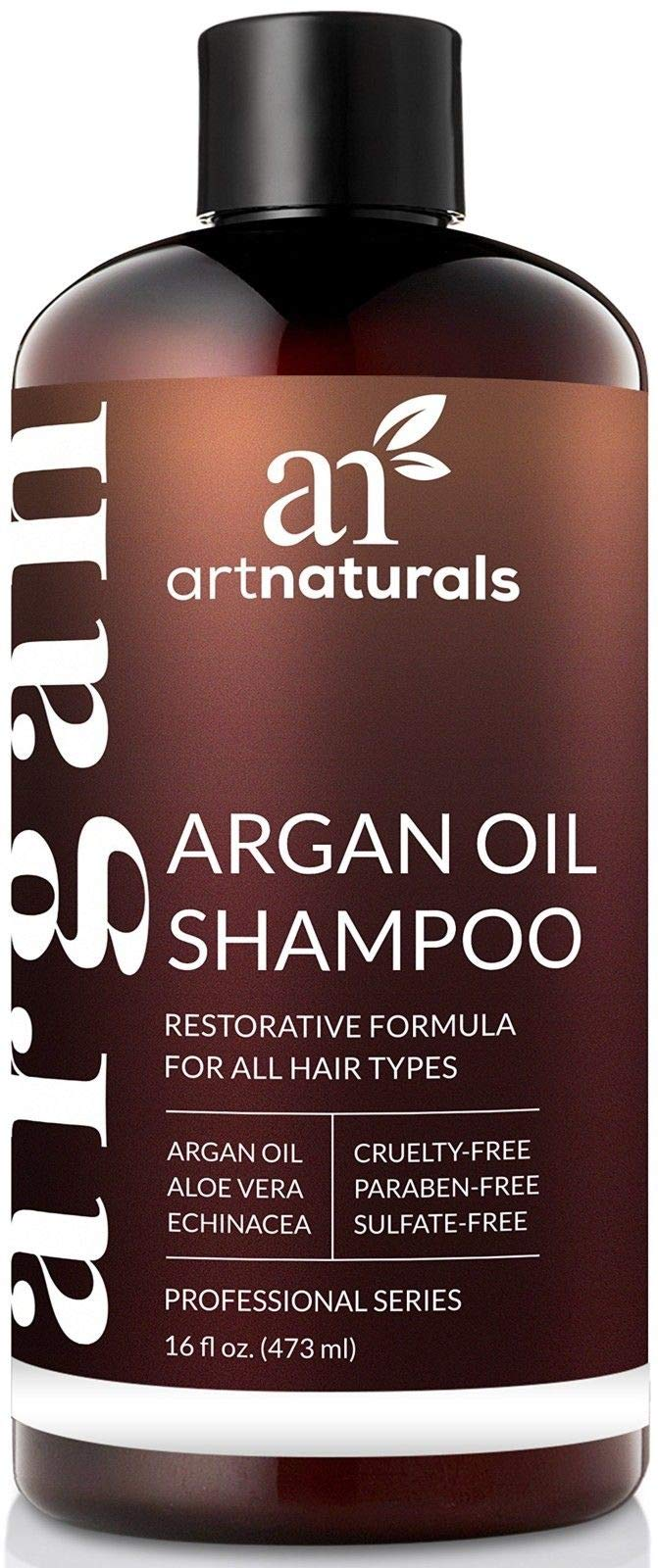 ArtNaturals Moroccan Argan Oil Shampoo - Moisturizing, Volumizing Sulfate Free Shampoo for Women, Men and Teens - Used for Colored and All Hair Types, Anti-Aging Hair Care,(16 Fl Oz / 473ml) -