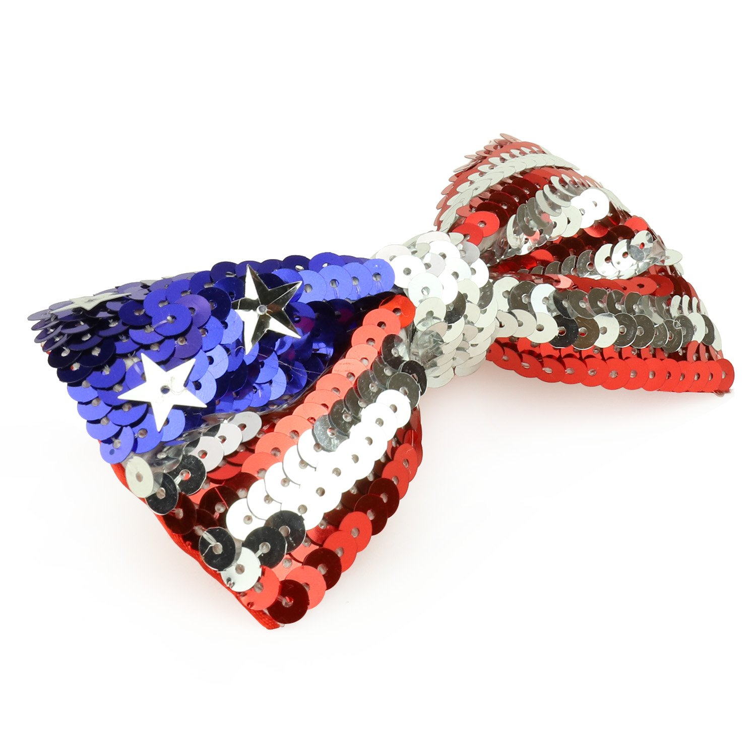 Armycrew Patriotic USA Flag Red//White//Blue Sequin Bow Tie with Elastic Band