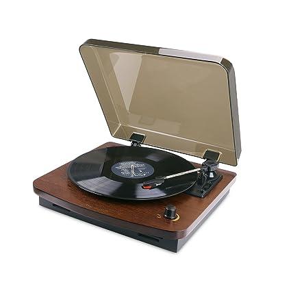 HOVAMP MT-01 giradiscos de 3 velocidades con Altavoces estéreo Integrados Salida RCA, Tocadiscos de Estilo Vintage (Café)