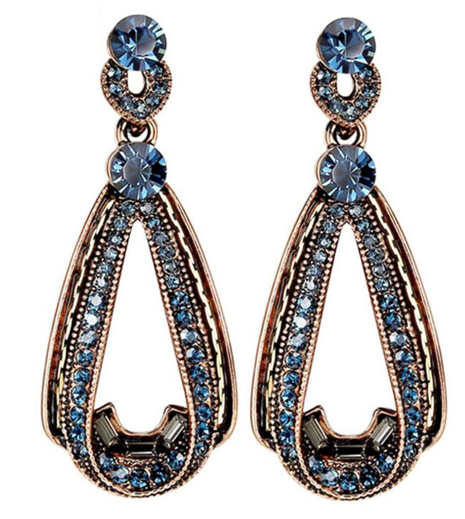 AIEDE Gold Navy Blue Crystal Teardrop Dangle Earring For Women