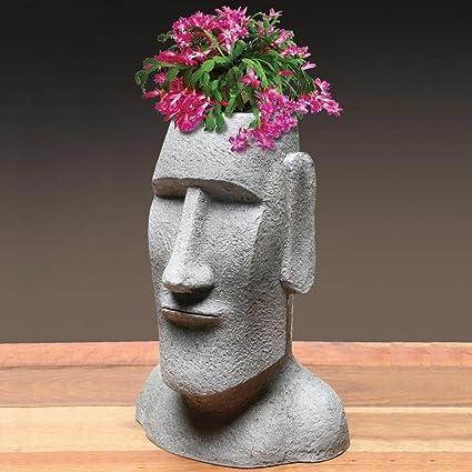 Easter Island Ahu Akivi Moai Monolith Tiki Head   Garden Statue Planter