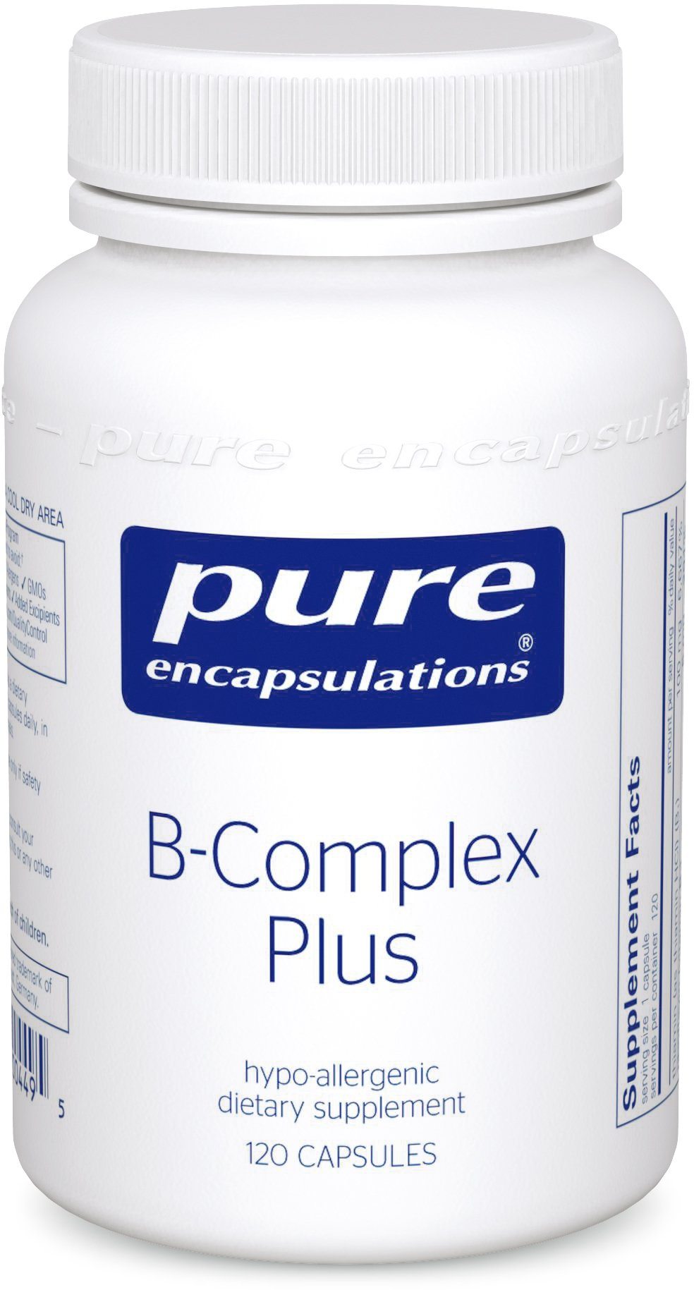 Pure Encapsulations - B-Complex Plus - Balanced B Vitamin Formula with Metafolin® L-5-MTHF and Vitamin B12 - 120 Capsules