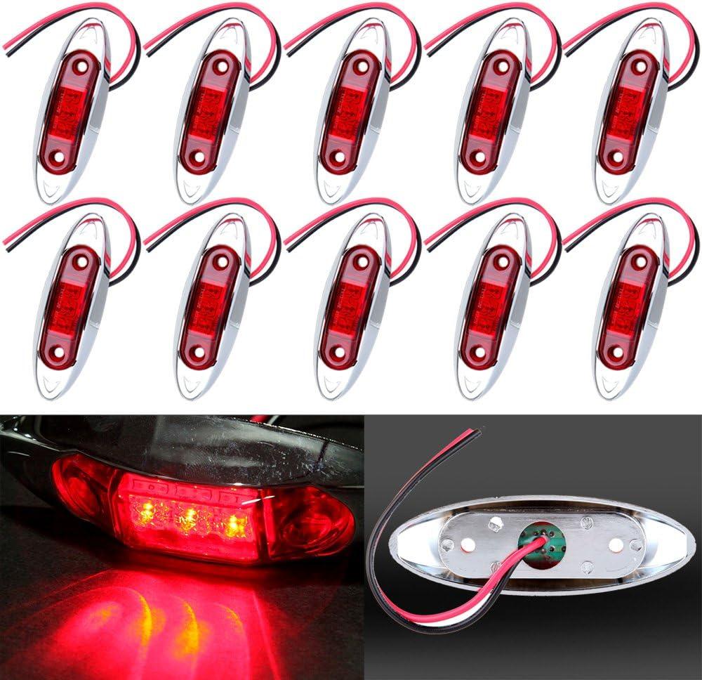10PCS White 2 LED Light Oval Clearance Trailer Car Truck Side Marker Tail Lamp