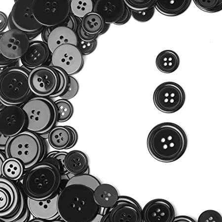 YIZIQSS 200 PCS Sewing Resin Button Round 4 Hole Craft Button, Used for Sewing Scrapbook and DIY Craft Buttons 15mm / 0.6in, 20mm / 0.78in, 25mm / 1in (Black, Large Medium Small)