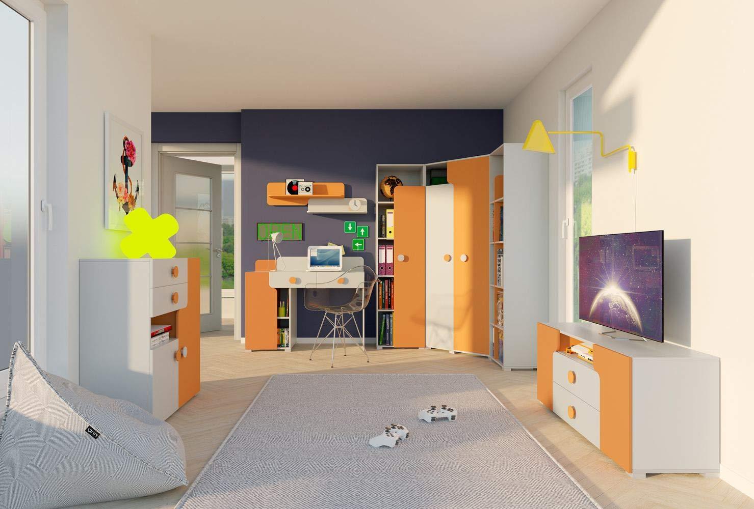 Jugendzimmer Komplett - Set C Harald, 7-teilig, Farbe  Weißszlig; Orange