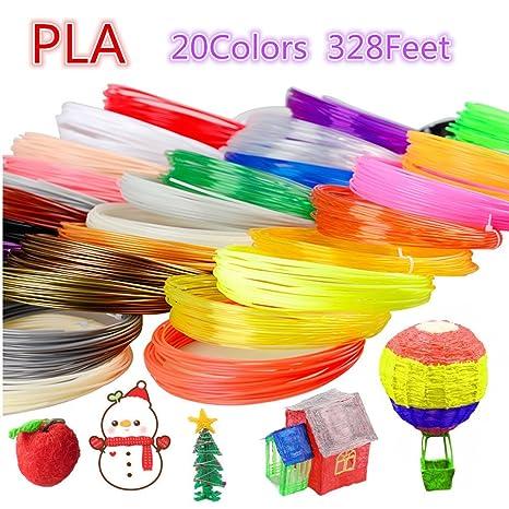 Pla 3d pen filamento recargas - 20 colores, 16,4 pies cada color ...