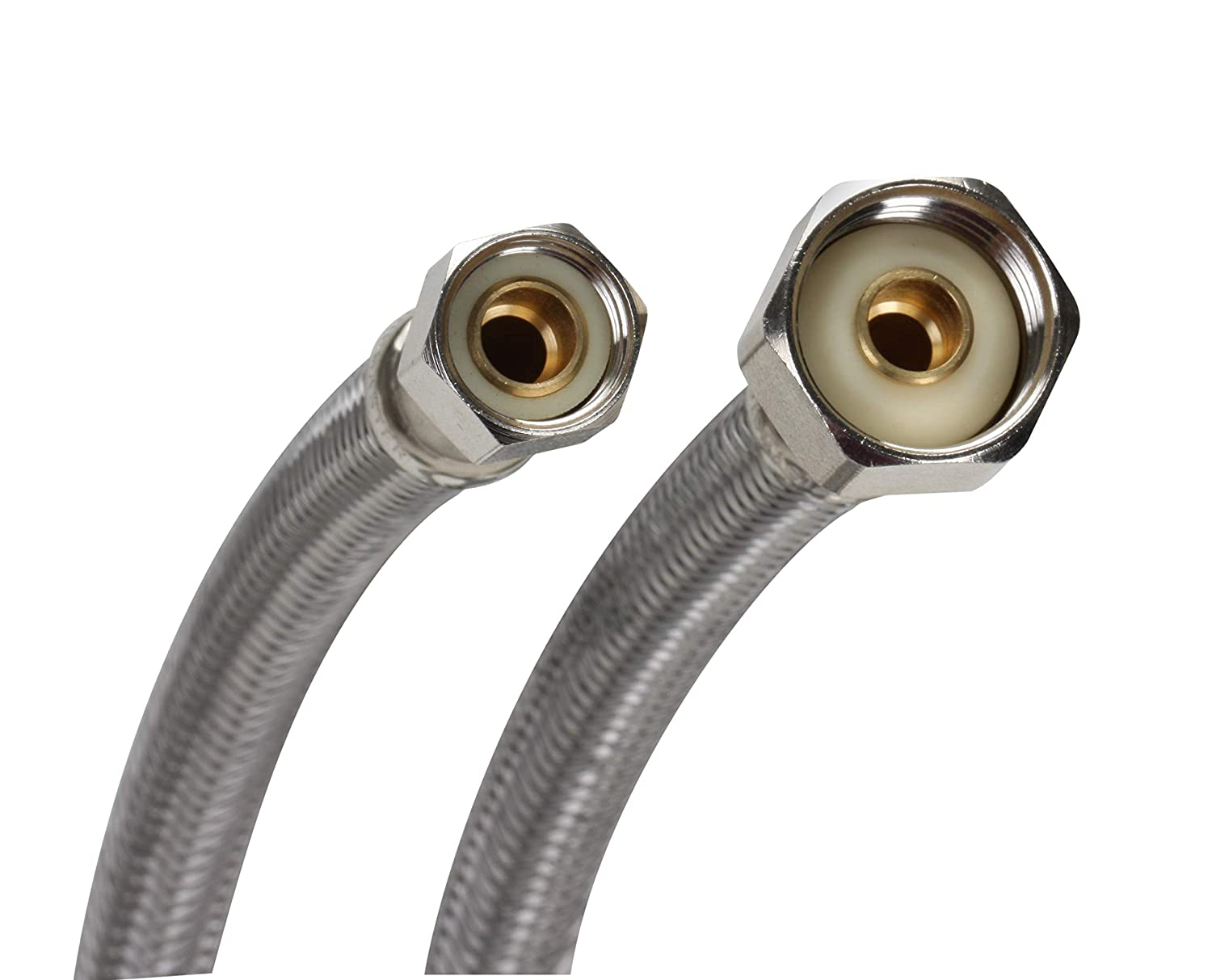 Fluidmaster B1F20 Faucet Connector, Braided Stainless Steel - 3/8 Female  Compression Thread x 1/2 FIP Thread, 20-Inch Length