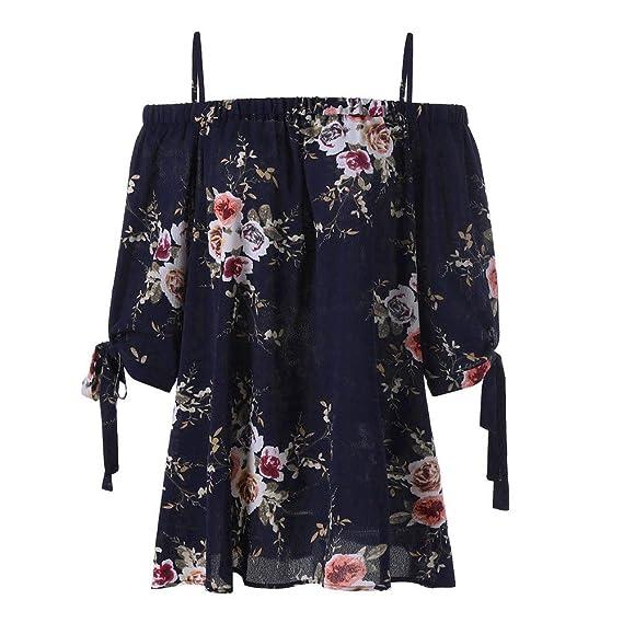 Blusa para Mujer, LANSKIRT Moda de Mujeres Tallas Grandes Impresión Floral Sin Tirantes Blusa Casual