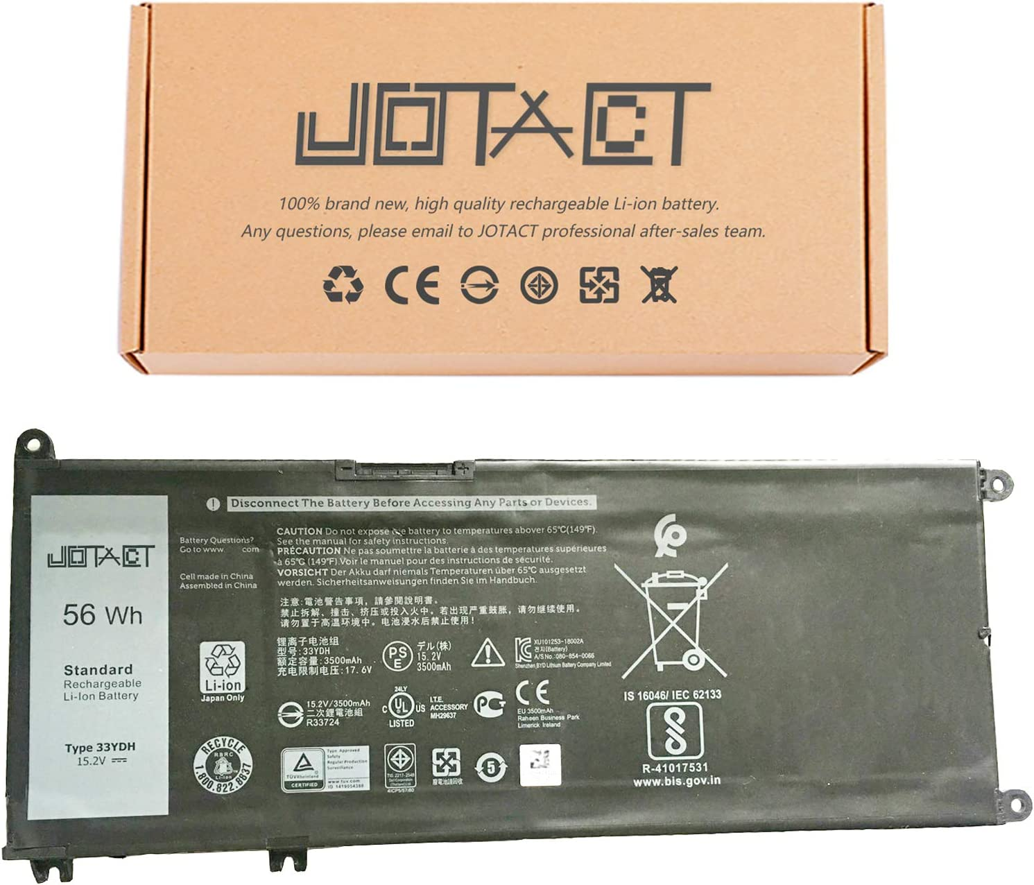 JOTACT 33YDH (15.2V 56W/3500mAh 4-Cell) Laptop Battery Compatible with Dell Inspiron 17 7000 7773 15 7570 7577 G3 15 3579 17 3779 G5 15 5587 G7 15 7588 Latitude 15 3590 Series Notebook 99NF2 PVHT1