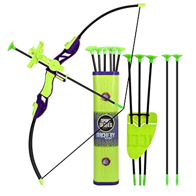 Sport Series Archery Shooting Set, Bow & Arrow Toy, Basic Archery Set Outdoor Hunting Game, Bow and Arrow for Kids Boys Girls, Include Shoulder-strapped Quiver and 12 Suction Cup Arrows: Sports & Outdoors