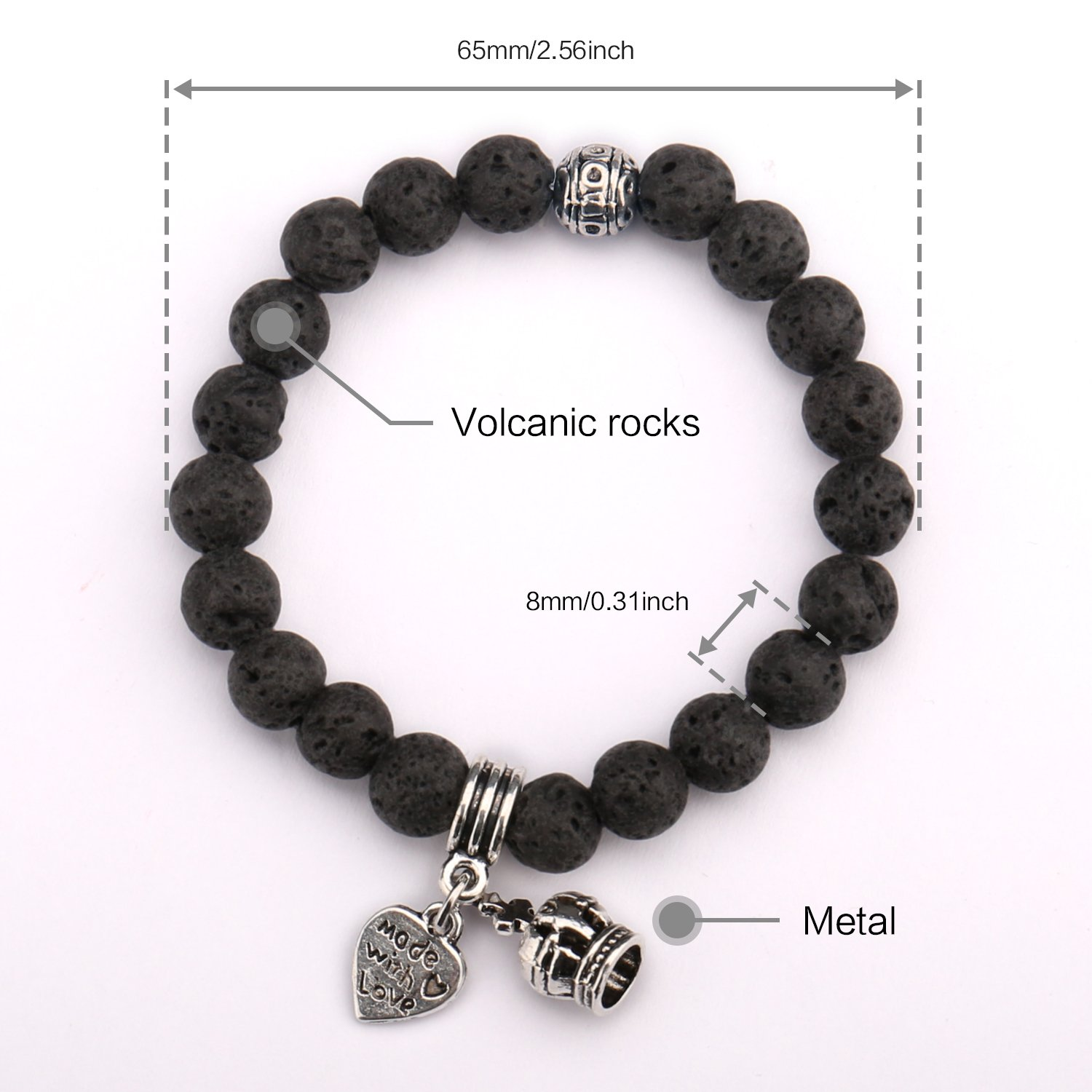 Beads Bracelet,UHIBROS Crown Heart Pendant Handmade Unisex Elastic Stretch Beaded Bracelet,Natural Agate Lava Rock Beads Bangle