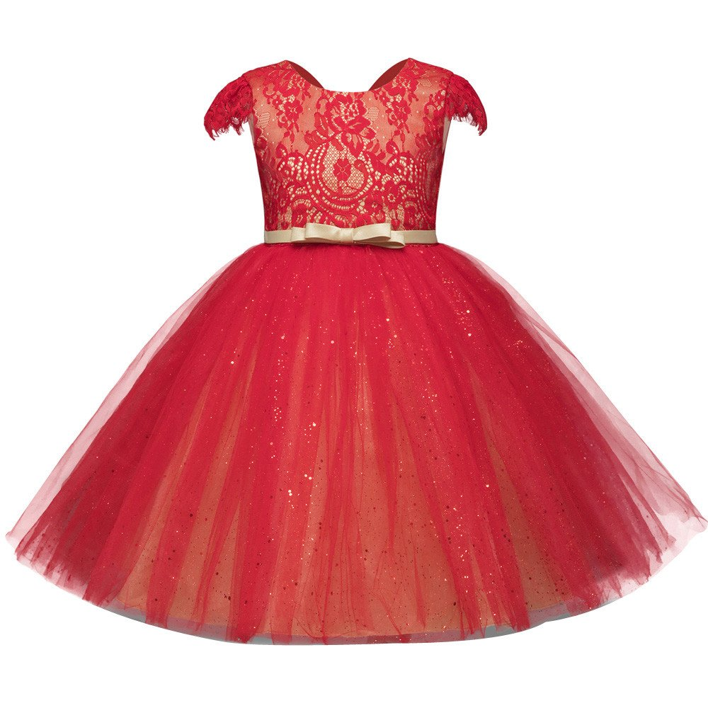 Lurryly Girls Princess Dresses Bridesmaid Dress Sundress Wedding Party Pageant Outfit 2-6T