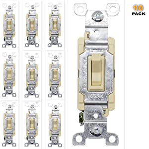 15A Toggle Switch Guard, Paddle Switches, 15 AMP Electrical Toggle Smart Switch No Neutral Required, Illuminated Light Switch, Style Single Pole Flip Switch for Smart Home Improvement, UL Listed