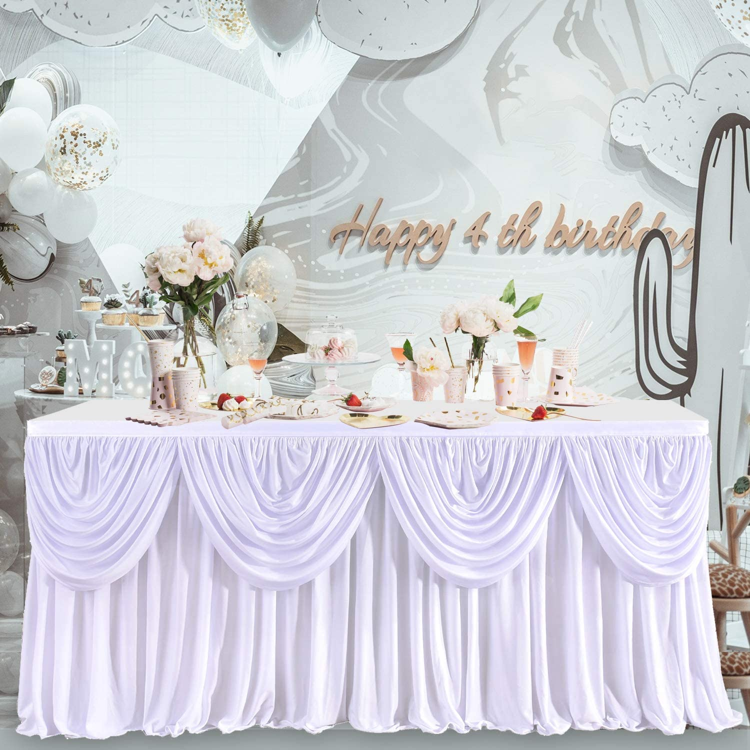 HB HBB MAGIC White Polyester Pleated Table Skirt for Rectangle Table Swag Drape Ruffle Table Skirt for Wedding Bridal Shower Banquets Baby Shower Anniversary Party 14ft