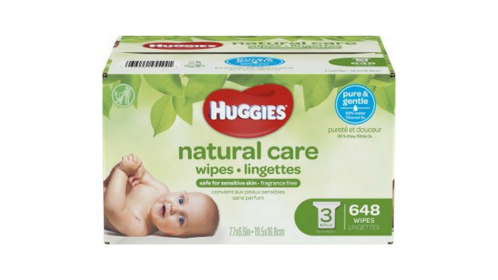 Natural Care Baby Wipes Pure & Gentle, Unscented Refills (648 CT)